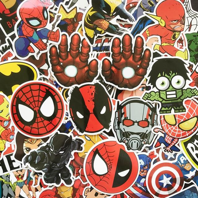 AQK 50 Pcs New Super Hero Adesivos Crianças Brinquedo Graffiti Engraçado Adesivo MARAVILHA DC Para DIY Guitarra Bagagem Skate Laptop decalque do carro