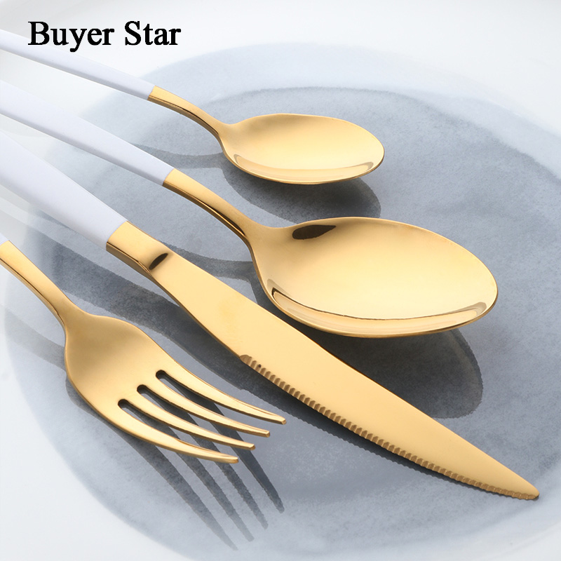 Buyer Star Flatware Set Gold Polish Black Handle Stainless Steel Food Silverware Dinnerware Utensil Kitchen Dining Cutlery Set 2