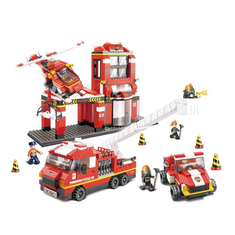 Sluban Model Building Compatible lego Lego B0227 745pcs Model Building Kits Classic Toys Hobbies Fire Rescue