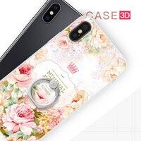 Gview 3d الإغاثة الطباعة لينة tpu + pc الصعب الغطاء الخلفي للقضية فون x الدائري حامل الهاتف حقيبة كوكه لتفاح iphone x 10