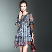 The Latest High Quality Fashion 100 Real Silk Dress Women Spring Vintage Printing Loose Plus Size