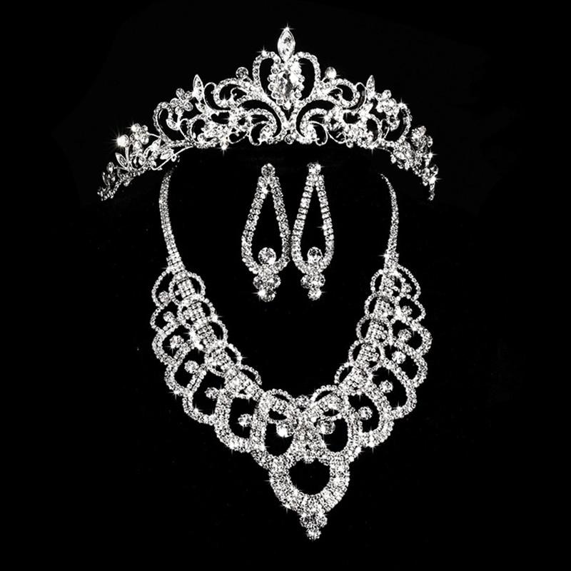 Treazy lindo diamante rhinestone de cristal de noiva 3 pcs set choker colar brincos coroa tiara nupcial do casamento prom conjunto de jóias