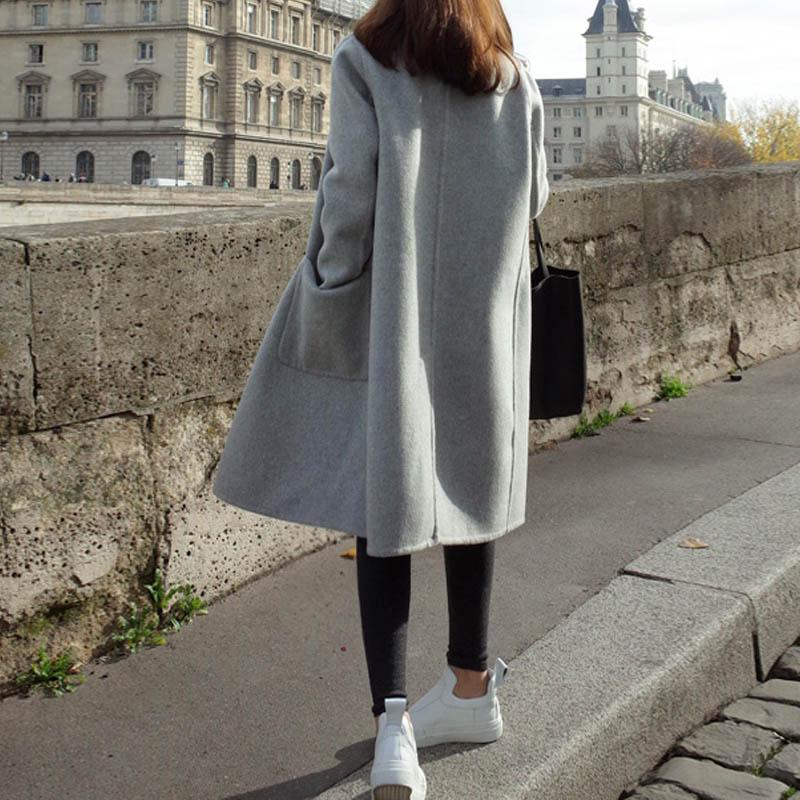 2019 ZANZEA Women Wool Blends Coat Winter Autumn Female Long Sleeve Double Breasted Long Jacket Plus Size Casual Windbreakers 7