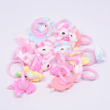 12pc/lot Acrylic Cartoon Unicorn Horse Kids Finger Rings Party Favors Costume Birthday Party Gifts for Guest Baby Party Supplies(China)
