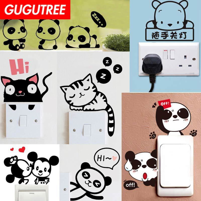 Decorate panda cats mouse dogs art wall sticker decoration Decals mural painting Removable Decor Wallpaper LF-121