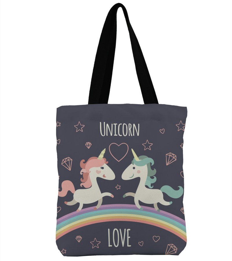 3D Print Couple Unicorn Design Beach Single Shoulder Shopping Bag Canvas Tote Handbag Big