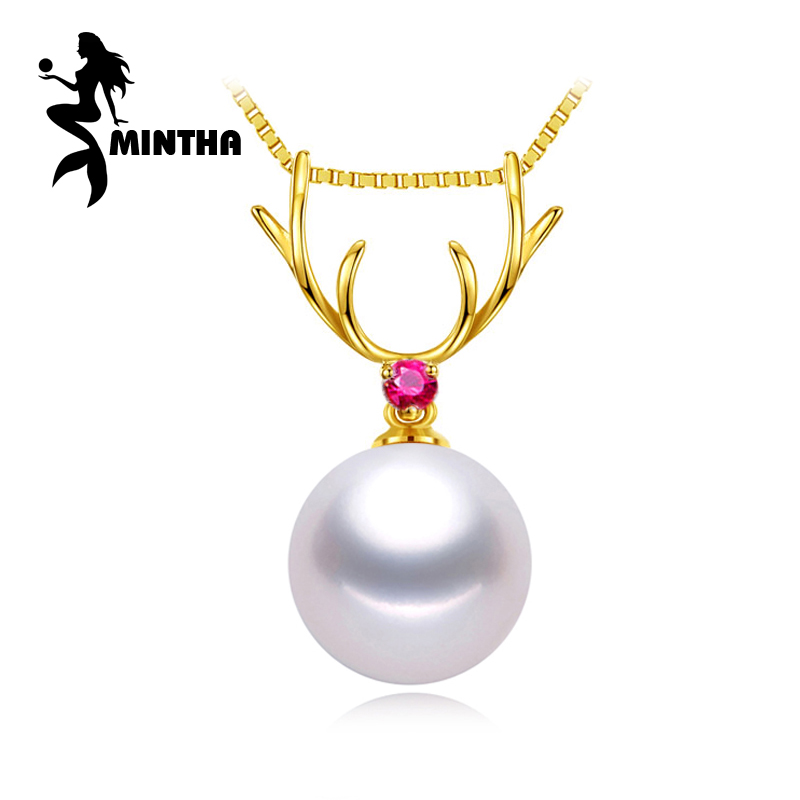 цена MINTHA 18K Gold deer ruby peandant pearl Jewelry antlers necklaces & pendant for love pearl pendants send s925 silver necklaces