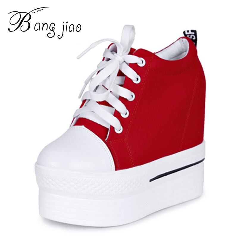 US $19.78 54% OFF|Canvas Shoes Women Casual Sneakers Elevator Platform Shoes Female High Top Hidden Wedge Heels Ankle Boots Zapatillas Mujer in