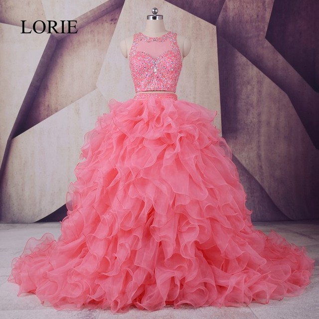 Peach Quinceanera Dresses 2019 LORIE Vestidos De 15 Anos Ruffles Crystals Beaded  Luxury Debutante Gowns Girls Sweet 16 Dresses 135fd5743f83