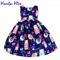 Kseniya Kinder Neue Europäische Sommer Mädchen Kleider Baumwolle Cartoon Mädchen Kinder Kleidung Blau Rosa Blume Kleid Hand Graffiti 2-14 Jahre