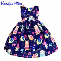Kseniya niños nuevo verano europeo Niñas Vestidos algodón Niña de dibujos animados los niños ropa azul Rosa flor mano graffiti 2- 14 años