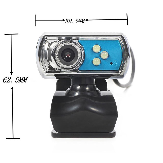 12 MP Webcam HD High-definition 3 LED Webcam USB Camera with Mic  Night Vision for PC Computer Peripherals Blue 2