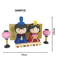 Japan March 3rd hina matsuri micro diamond building block Kimono Doll nanoblock assemble bricks toys collection for girls gifts