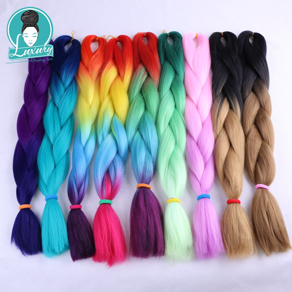 Lyx för Braing Ombre Kanekalon Jumbo Braids 5st / lot 24inch Purple Green Blue Synthetic Bulk Hair Pieces 100colors Mixed Ok