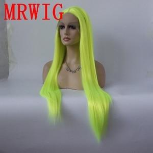 Image 3 - MRWIG argento verde lungo rettilineo sintetica glueless parrucca anteriore del merletto parte centrale 26in reale picturehair calore reasitant fibra di magazzino