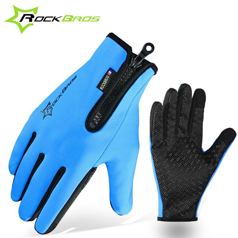Sport Motorcycle Gloves: ROCKBROS Winter Gloves Fleece Thermal Warm Bike Sport