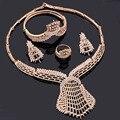 Fina Nueva Perlas Africanas Sistemas de La Joyería Collar Pulsera Pendientes Collar Chapado En Oro Anillos de Cristal Del Banquete de Boda Nupcial Accesorios