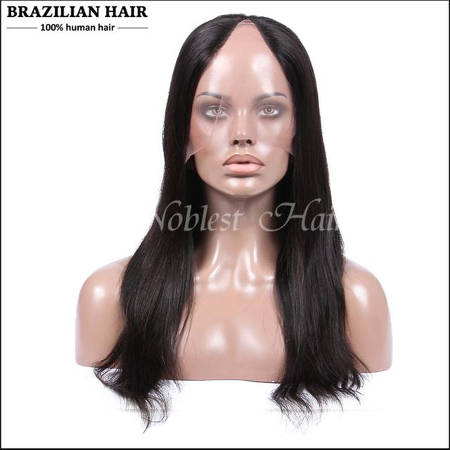 U parte peluca virginal del pelo humano de la virgen brasileña U pelo humano parte pelucas negro mujeres Straight U parte peluca media / peinado de lado