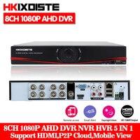 HKIXDISTE AHD 8CH 1080P DVR System ONVIF mini NVR 8CH 5 in 1 TVI CVI AHD IP HDMI H.264 P2P Cloud network CCTV 1080P 8CH AHD DVR