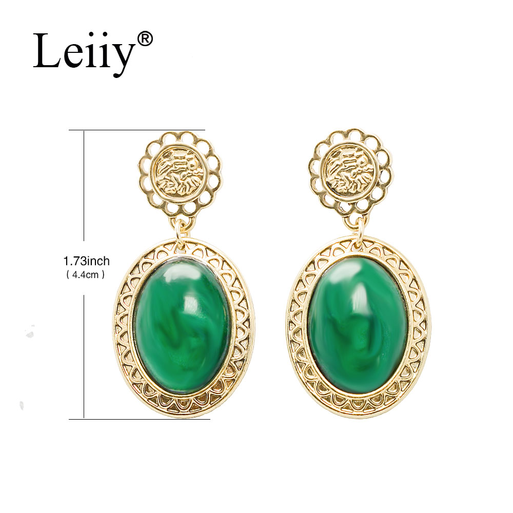 LEIIY Green Rhinestone Stone Drop Earrings For Women Vintage Gold Color  Hollow Out Carve Dangle Earrings Fashion Jewelry 0a4913071cac