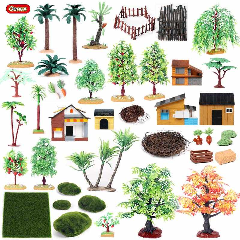 Oenux Home Decoration Palm Trees Farm House Fence Lawn Nest Scenery Layout Landscape Accessory Miniature Farm Animals Model Toys