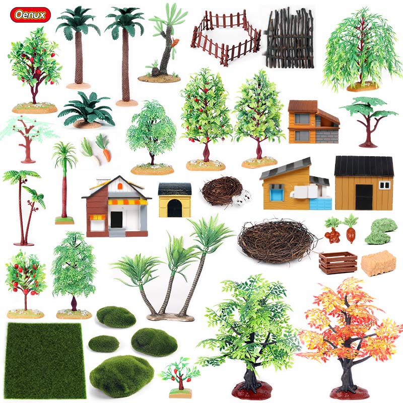 Oenux Home Decoration Palm Trees Farm House Fence Lawn Nest Scenery Layout Landscape Accessory Miniature Farm Animals Model Toys(China)
