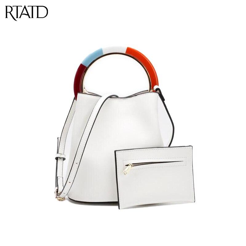 RTATD Mode Ring Composite handhebel Tasche Chic Split Leder Eimer Design Frauen Tasche Mit Inneren Kette umhängetaschen C152-in Taschen mit Griff oben aus Gepäck & Taschen bei  Gruppe 1