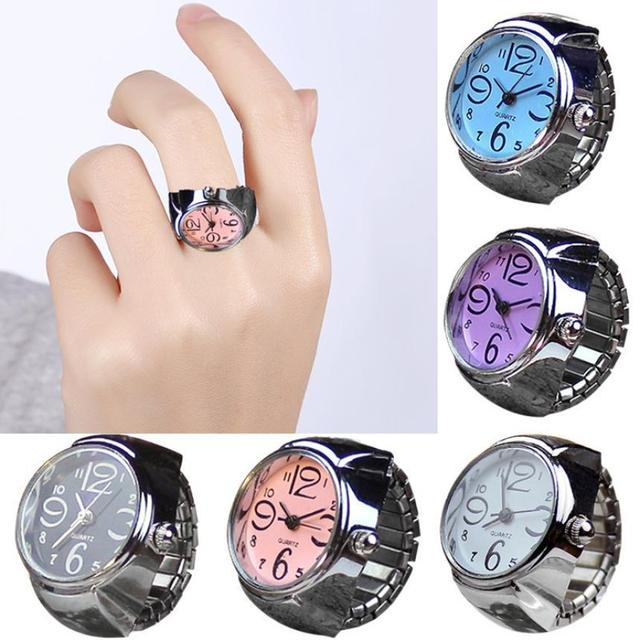 415636640417 Dial Quartz Analog Watch Creative Steel Cool Elastic Quartz Finger Ring  Watch Rose Gold Girls ladies