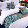 yazi Vintage Green Leaf Rustic Double Layer Bed Runner Throw Bedding Protector Bed Tail Towel 50x180cm 50x210cm 50x240cm