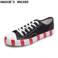 Мэгги Walker Для мужчин Мода Повседневное обуви унисекс, парусиновая шнуровкой повседневные весенние туфли для влюбленных Уличная обувь на пл...