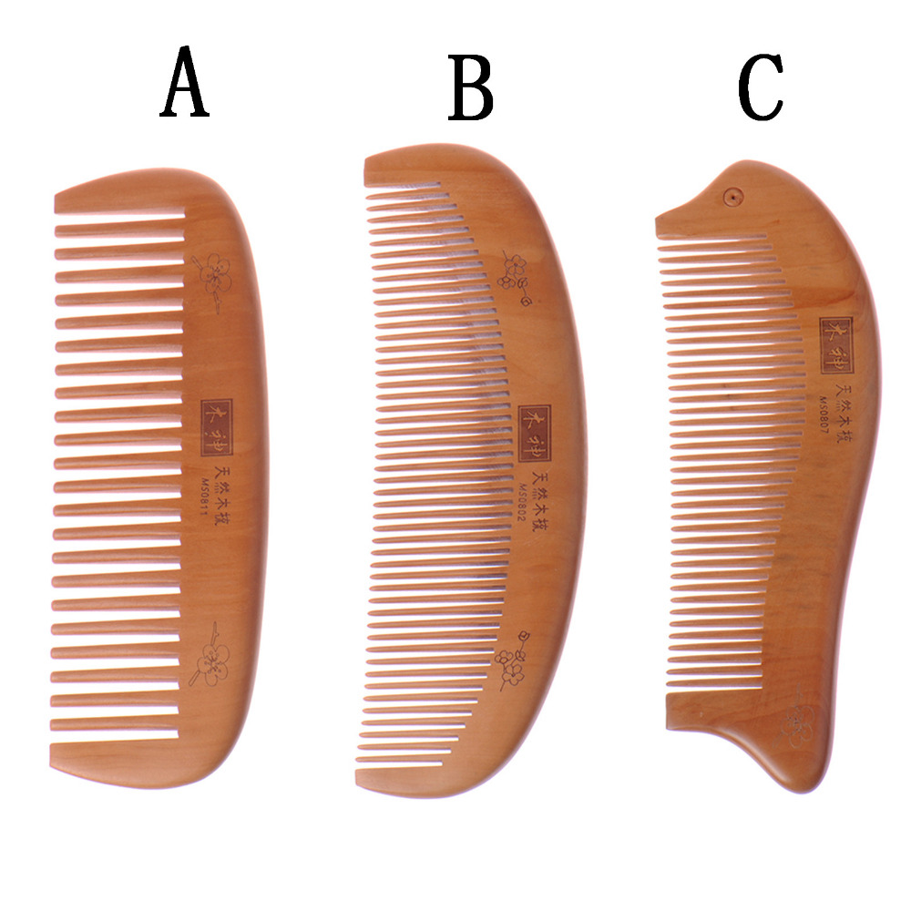 Curved Shape Natural Peach Wood Comb Hai Vent Brush Brushes Hair Health Care Massage Anti-static Wooden Hair Hairbrush Comb