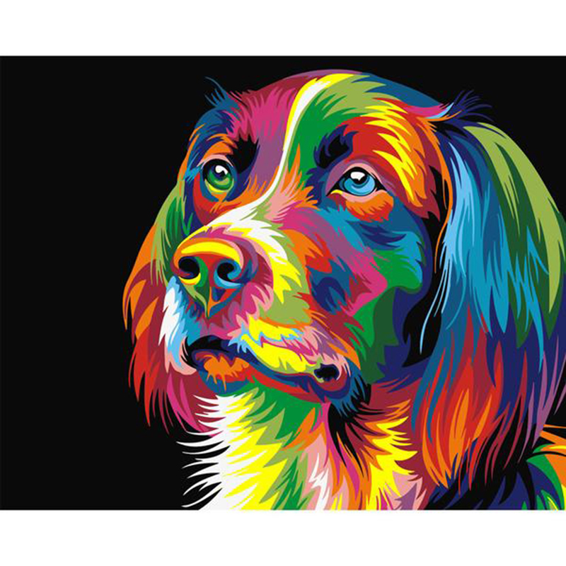 New Product  Painting By Numbers DIY Dropshipping 40x50 50x65cm Birthday Colorful Dog Head Animal Canvas Wedding