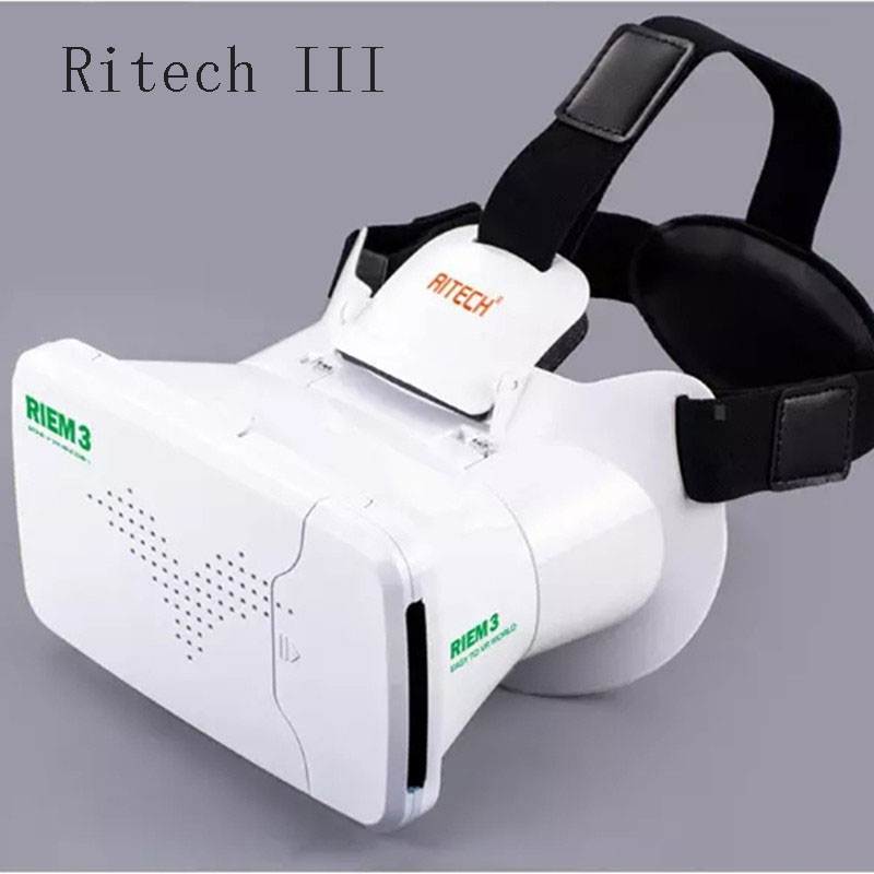Ritech III RIEM3 VR Virtual Reality Gafas Head Mount Card board Rift DK2 Box 3D Movie Game Video Glasses For phone
