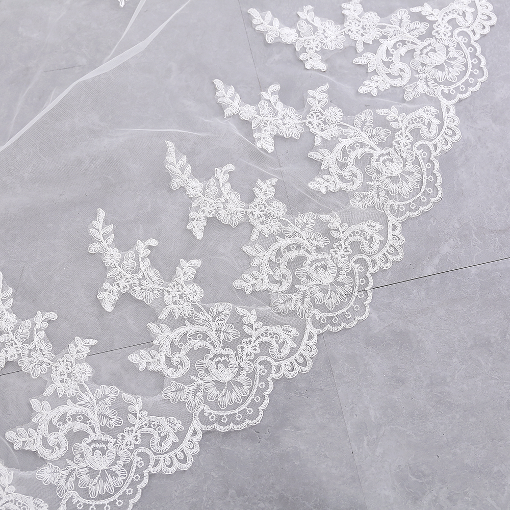 Купить с кэшбэком Luxury 3.5M White Ivory Cathedral Wedding Veils 2019 Long Applique Edge Bridal Veil with Comb Wedding Accessories velos de novia