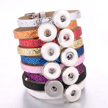 New Snap Jewelry 18mm Leather Strap style Button Bracelet for Women Children Stainless Steel Love flower Charms