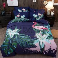 4 Pieces Linens Comforter Bedding Set Cotton Soft Duvet Cover Fitted/Bed sheet set Multi Color Flamingo Paisley Bed Linen Set