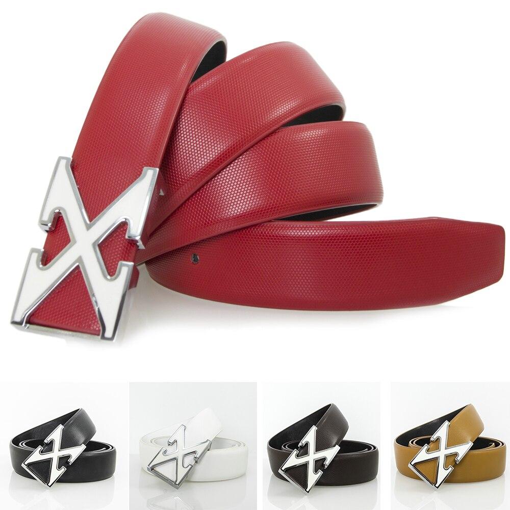 High Quality Men Women Belt Smooth Waistband X Belt Black Buckle Waist Strap Cow Leather Jeans Unisex Girls CowBoy Belts