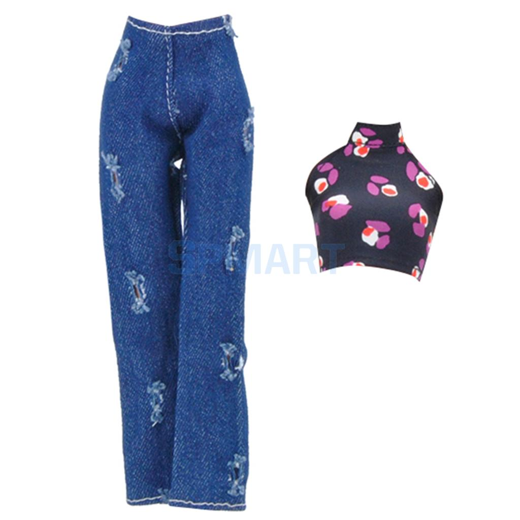 af2ba557ef5 Clothes For Barbie Doll Bare Midriff Suit Tops Shirt Camisole Ripped Denim  Trouser Jeans Dress Costume