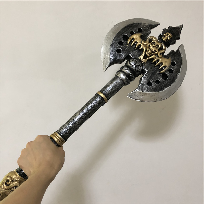 70cm Halloween Cosplay Prop Knight Warcraft Double-edged Black Axe 1:1 PU Weapon Movie Game Anime Cos Kids Role Play Gift PU
