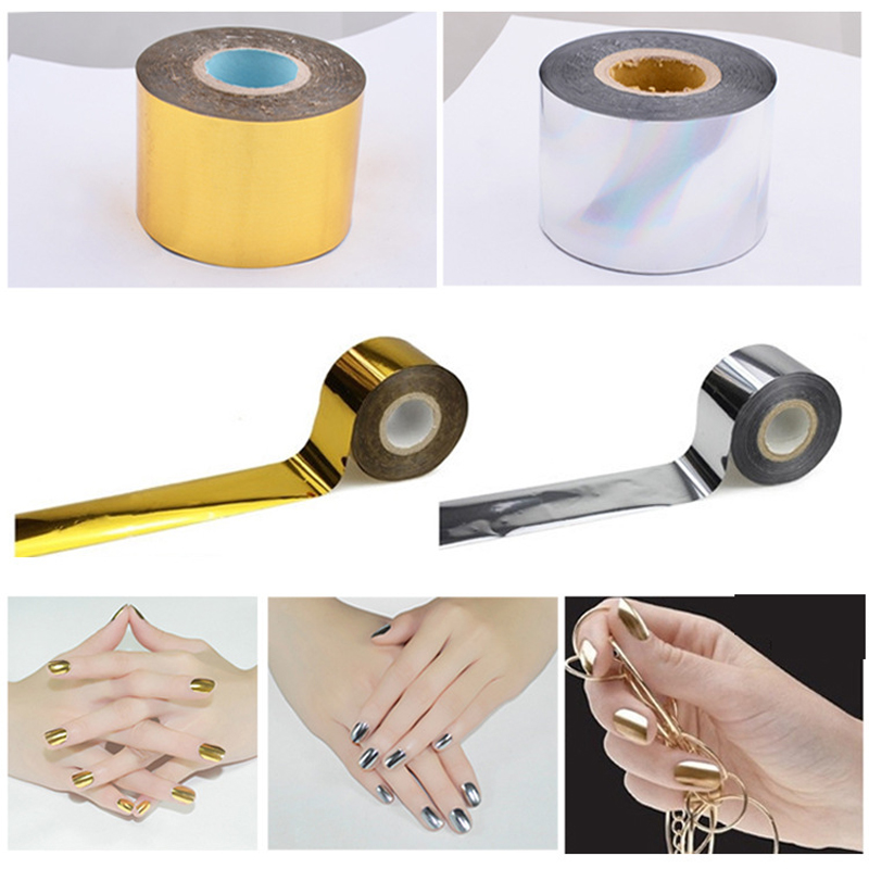 1Roll Fashion Gold Silver Transfer Foils DIY Nail Art Decoration Ongle Stickers Nail Foil Nail Art Stickers Decals Manicure bluezoo 1 roll 5cm 120m blue nail stickers transfer foil full cover nail art stickers silver scenery decals nails tools for nail