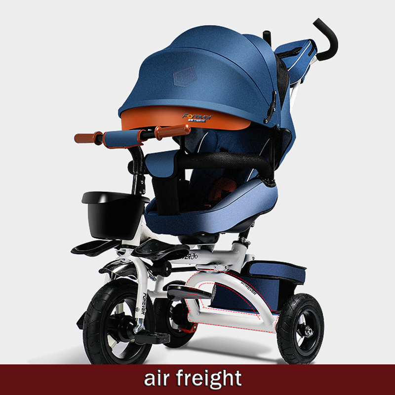 2019 permanent brand folding baby stroller, children's multi-function tricycle, can lie, can sit, air transport