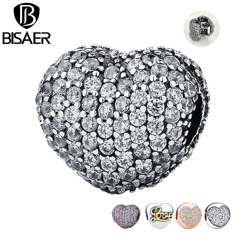 Black Friday 925 Sterling Silver Open My Heart, Pink Clear Cubic Zirconia CZ Clip Charms Fit Pan Bracelet DIY Jewelry Making