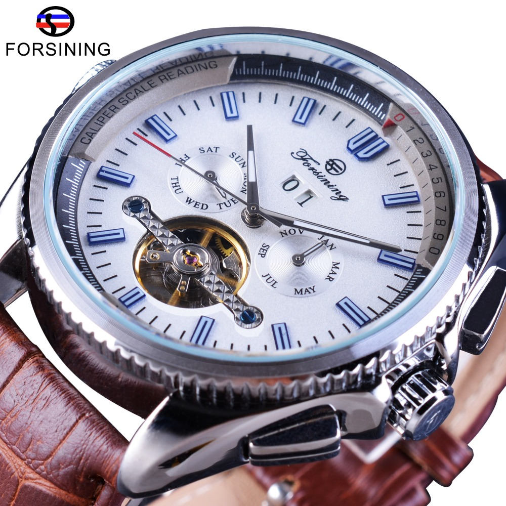 Forsining Navigator Series Brown Leather Tourbillion Watch Blue Dial Calendar Display Men Automatic Watch Top Brand Luxury Clock forsining navigator series tourbillion date display black silver watch top brand luxury male automatic mechanica wrist watches
