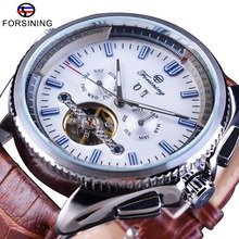 Séries Navegador Forsining Turbilhão de Couro Marrom Assista Blue Dial Calendário de Exibição Homens Relógio Automático Top Marca de Luxo Relógio