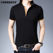 COODRONY Brand Summer Short Sleeve T Shirt Men Fashion Casual Turn-down Collar Tshirt Cotton T-Shirt Tee Homme S95147