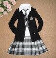 Uniforme Escolar outono da longo-luva camisola meninas de classe set traje