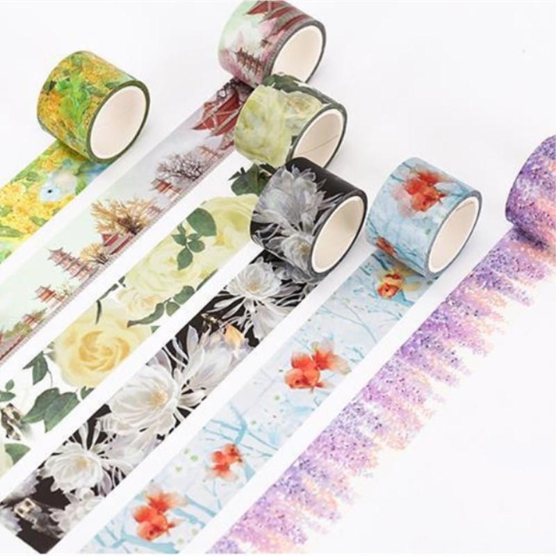 Ink Painting Tape Decoration Roll Diy Washi Decorative Sticky Paper Masking Tape Self Adhesive Tape Scrapbooking Sticker