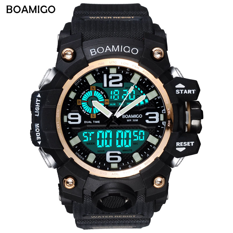 BOAMIGO S Shock Men Sports Watches Big Dial Quartz Digital Watch For Men Luxury Brand LED Military Waterproof Men Wristwatches skmei brand fashion digital quartz watch men shock resistant waterproof sports military watches men s casual led wristwatches