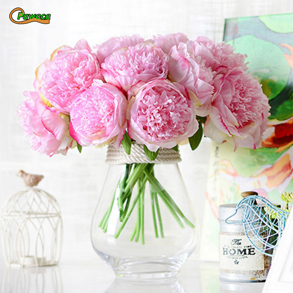 Hot sale 5 heads 1 bunch european artificial silk flower fake peony 5 heads 1 bunch european artificial silk flower fake peony bridal bouquet vivid fake flowers for wedding party autumn decoration izmirmasajfo