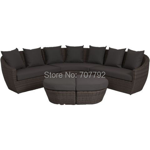 Standard Curved Rattan Corner Sofa Set In Brown